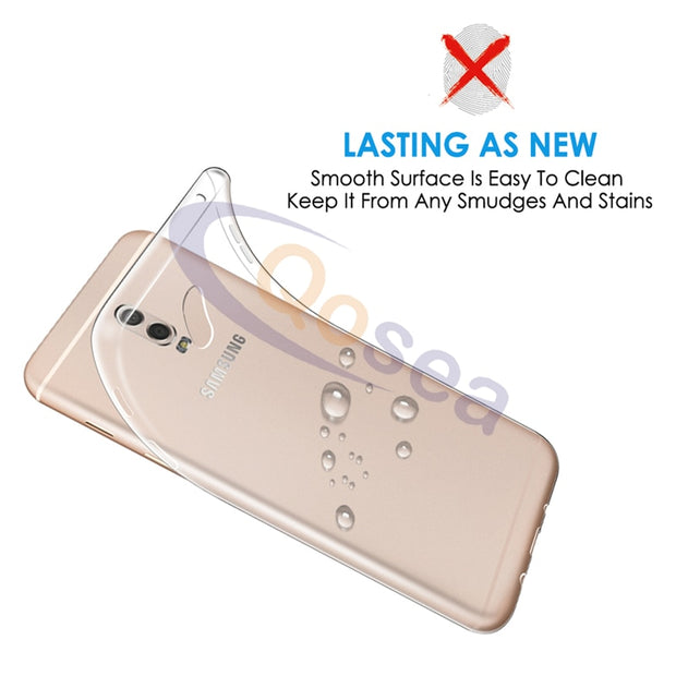 Qosea For Samsung Galaxy J7 Plus Case Transparent Slim Silicone TPU Skin For Samsung J7 Plus Protective Ultra Clear Back Cover