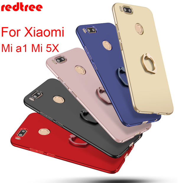 REDTREE Hard PC Slim Case For Xiaomi Mi A1 Mi5X Luxury Full Cover Smartphone Case With Holder For Xiaomi A1 Mi 5X Back Capa