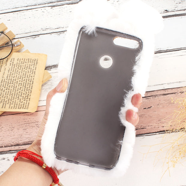 Rabbit Fur Case For Huawei Y7 Pro 6 Prime Y5 2018 Y9 2019 Y3 2017 Y5 Lite Y6 Ii Compact Mate 20 Lite 10 Pro 9 8 7 Mini Honor 5X
