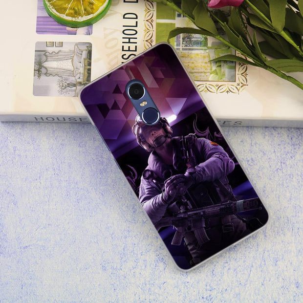 Rainbow Six Pattern Clear Cover Case For Xiaomi Redmi 3 3S 6 Pro S2 4A 4X 5A 6A 5 Plus Note 5A Note 2 3 4 4X 5 6 Pro Mi 5X