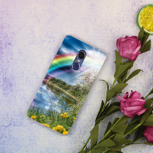 Rainbow In The Sky Clear Cover Case For Xiaomi Redmi 3 3S 6 Pro S2 4A 4X 5A 6A 5 Plus Note 5A Note 2 3 4 4X 5 6 Pro Mi 5X