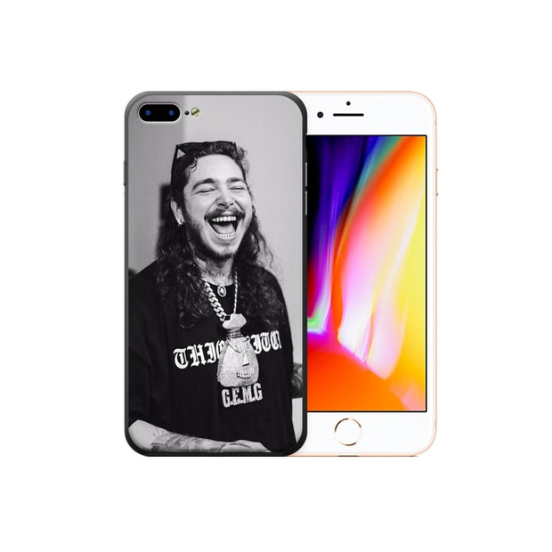 Rap Singer Post Malone Phone Case Printed Soft Frame Hard Back TPU+PC IPhone Cases For IPhone X 8 7 6 6S Plus Phone Cover