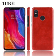 Retro PU Leather Phone Case For Xiaomi Mi 8 Shockproof PC Hard Back Cover For Xiaomi Mi 8 Case Coque