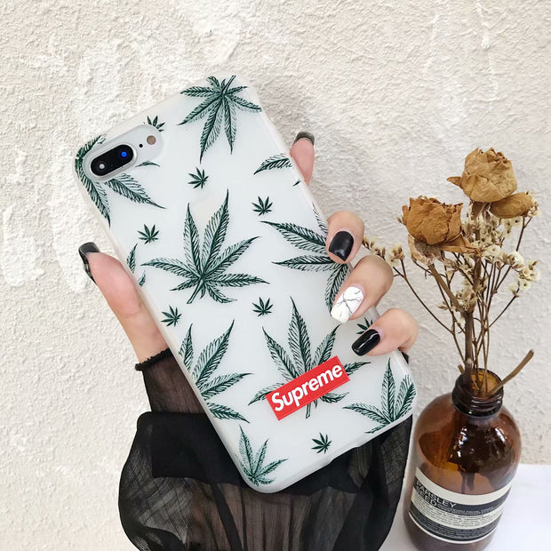 Retro Simplicity Personality Plant Feathers For IPhone 6 6s 7 8 PLUS Mobile Shell For IPhone X All-inclusive Mobile Phone Cases