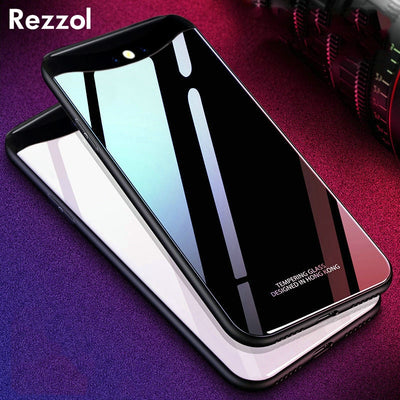 Rezzol For OPPO Find X Case Tempered Glass Back Cover Phone Hard Case With Silicone Frame For OPPO FindX Find X Fundas