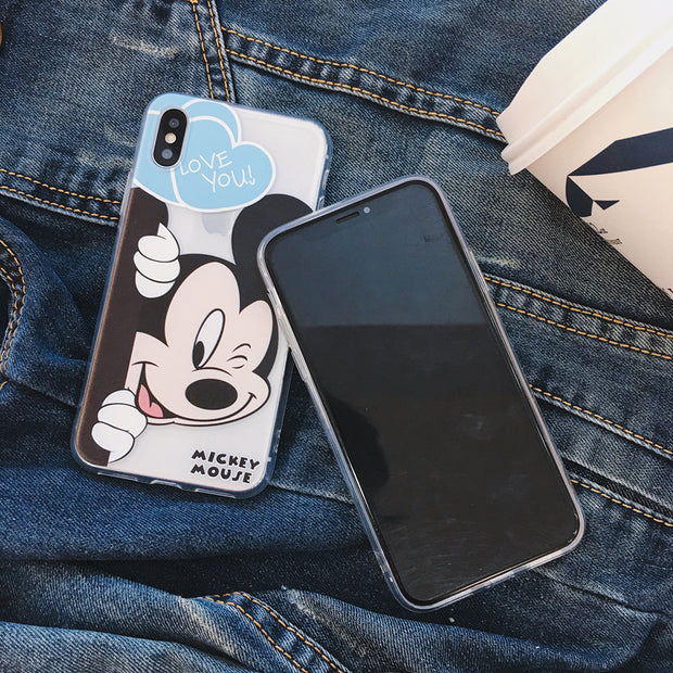 S Case For IPhone 6 6Plus Mickey Minnie Mouse Couple Cartoon Soft Gel TPU Shell Cover For IPhone X 7 7Plus 8 8Plus