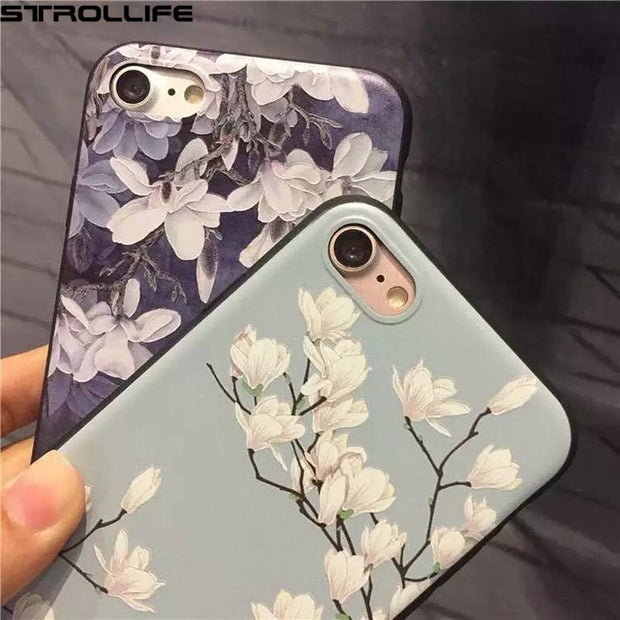 STROLLIFE Retro White Floral Phone Cases For Iphone 5s Case Cartoon Flower Soft Silicon Back Cover Capa For Iphone 5 SE 5s Coque