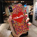 SUYACS Epoxy Glitter Sequins Love Heart-shaped Letters Phone Case For IPhone 6 6S 7 8 Plus X Soft Shell Back Cover Coque Bags