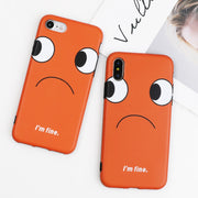 SUYACS Orange Bottom Figure Eyes Phone Case For IPhone 6 6S 7 8 Plus X Matte Frosted IMD Fitted Case Shell Back Cover Coque Bags
