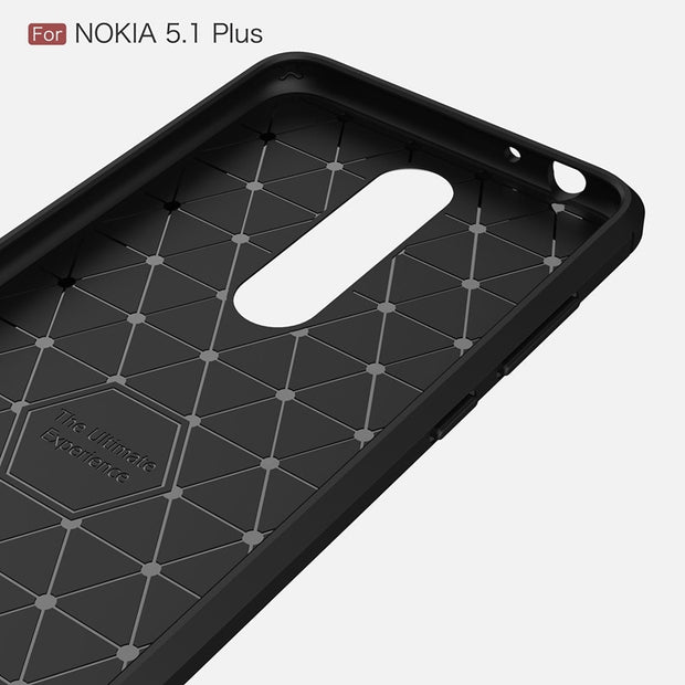 Shockproof Phone Case For Nokia 5.1 Plus / Nokia5.1Plus Carbon Fiber TPU Drawing Material Phone Cases Cover For Nokia5.1Plus