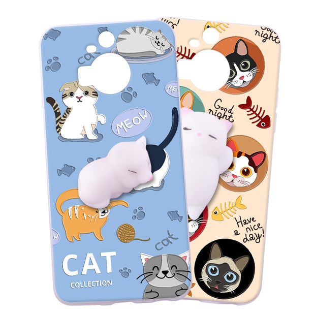 ShuiCaoRen Silicone Cases For HTC M9 Plus Case M9+ 3D Squishy Finger Pinch Cat Skin For HTC M9 Plus Cover
