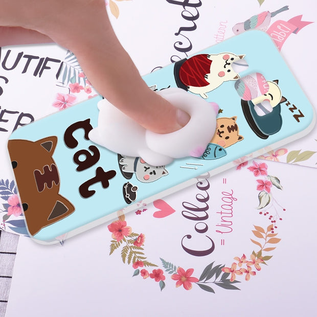 ShuiCaoRen Silicone Cases For Samsung Galaxy A5 2015 Case 3D Squishy Finger Pinch Cat Skin For Samsung Galaxy A5 Cover 2015