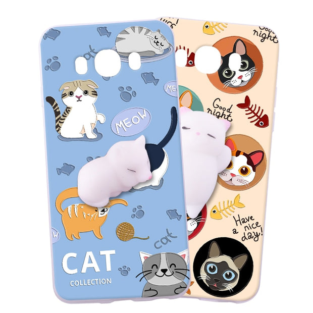ShuiCaoRen Silicone Cases For Samsung Galaxy J7 2016 Case 3D Squishy Finger Pinch Cat Skin For Samsung Galaxy J7 2016 Cover