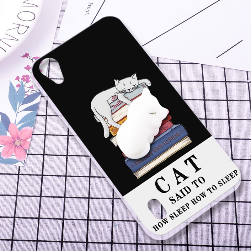 ShuiCaoRen Silicone Cases For Vivo Y13 Case Y613 Y13T Y15T 3D Squishy  Finger Pinch Cat Skin For Vivo Y15 Cover