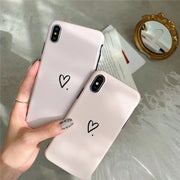 Simple Light Pink Love Heart Girl Style Phone Case For Iphone XS Max For Iphone XR X 8 7 6S 6 Plus Soft IMD Back Cover Cases