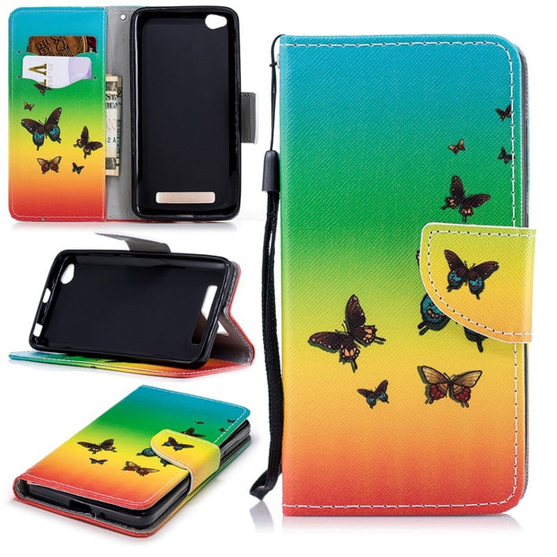 Soft Retro Flip Leather Wallet Luxury Stand Cases For Redmi 4A Trend Capa Patterned Owl Case For Funda Redmi 4A With Cards Slot