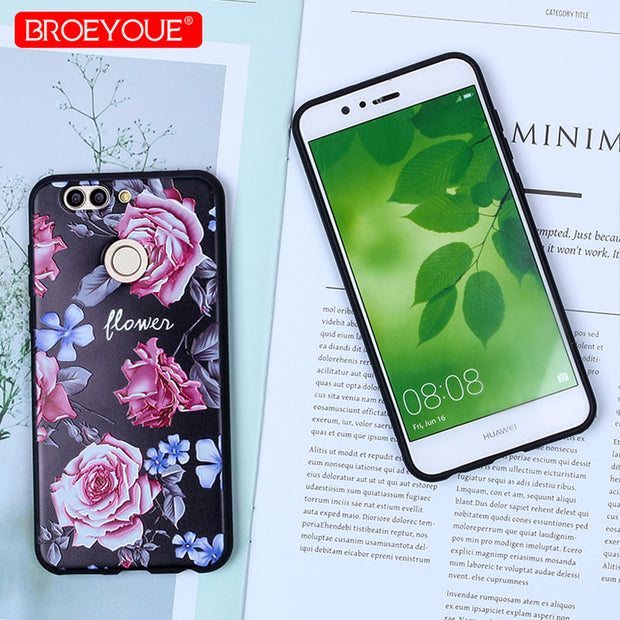 Soft TPU Case For Huawei Nova 2 Plus 3E P9 P10 P20 Lite 2016 2017 Fashion Matte Flower Covers For P8 Lite Honor 10 9 Lite 6X 7X