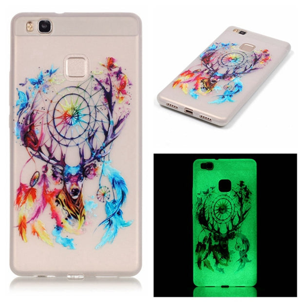 Soft TPU Luminous Case Coque Fundas For Huawei Ascend P9 Lite Cover Crystal Transparent Painted Glow In The Dark Shell Dandelion