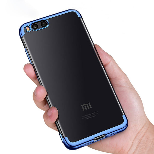 Soft TPU Protection Laser Transparent Plating Phone Cases For Xiaomi Mi Note 3 Mi5x A1 Mi6 Case For Redmi Note4 4X Note5A Cover