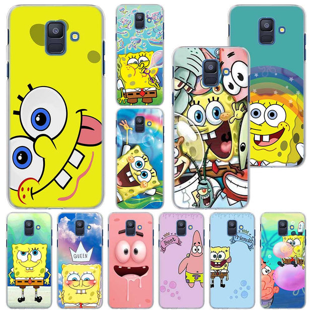 Spongebob Squarepants Phone Case For Samsung Galaxy A6 A6+ A8 A8+ 2018 PC Hard Case Cover For Galaxy A320 A5 A7 2017