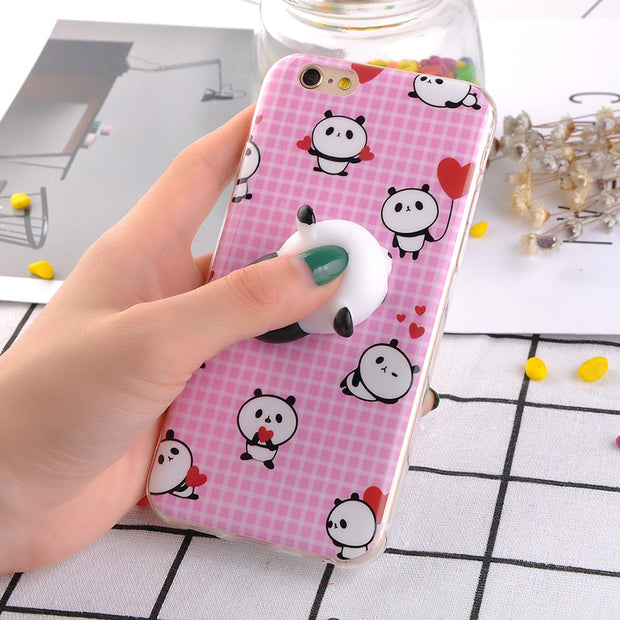 d0b3332b11 Squishy Phone Case For IPhone 6 6S Plus 3D Cute Soft Silicone Panda Pappy  Squishy Stress