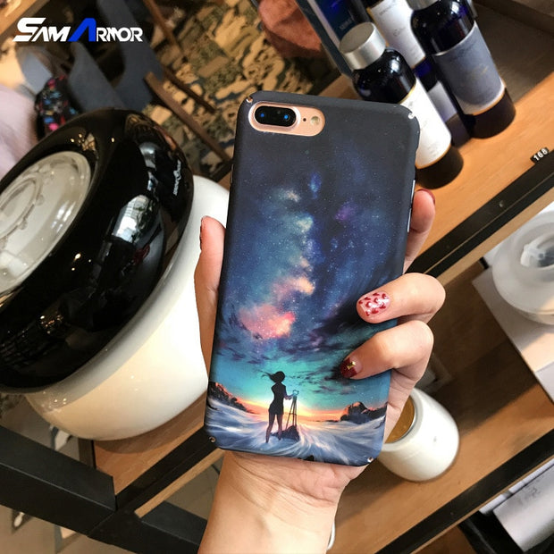Starry Sky Girl Cases For IPhone 7 Plus Covers For IPhone 6s 6 Plus Phone Coque For IPhone 8 Plus Beautiful New Style