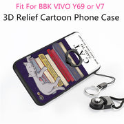 TENENELE Case 5.5'' For BBK VIVO Y75/V7 Fashion Silicone Cartoon 3D Relief Cover Case With Finger Ring Coque Funda Capa