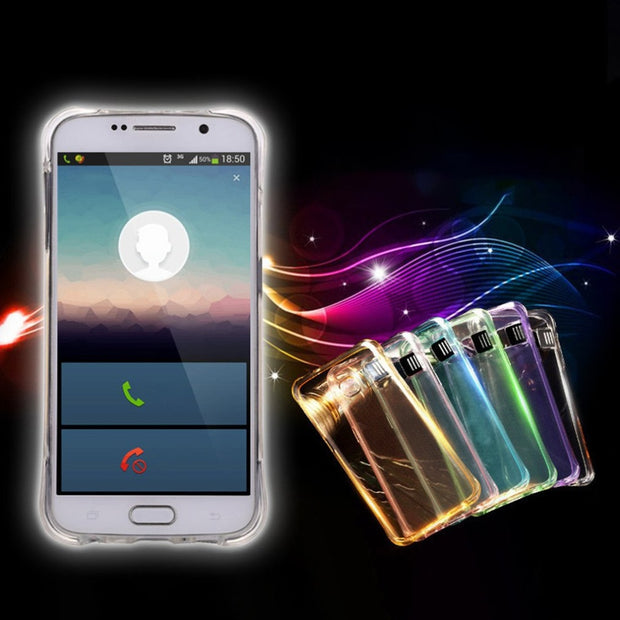 TPU LED Flash Light Up Phone Back Case Remind Incoming Call Case Fashion Cover Suitable For Samsung Galaxy S8 Edge