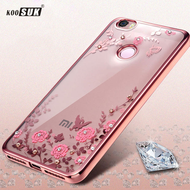 TPU Plating Case For Xiaomi Redmi 6A Flower Diamond Clear Cover For Xiaomi Redmi 6A 6 A Luxury Soft Back Cover Phone Cases Coque
