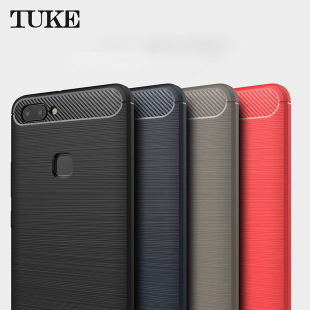 TUKE For BBK Vivo X20 Case Ultra Thin Carbon Fiber Case Soft TPU Cover For Vivo X20 X 20 Phone Cover Case