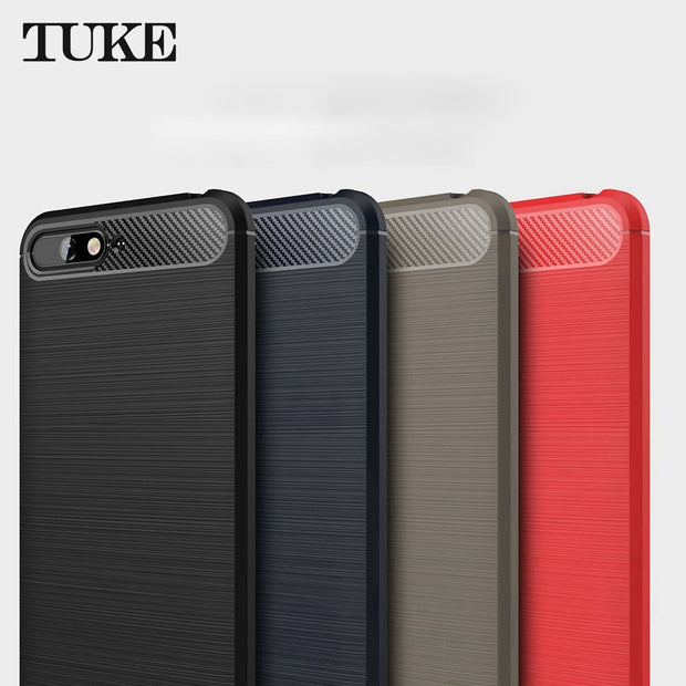 TUKE For Huawei Y6 2018 Case Slim Hybrid Super Armor Carbon Fiber Texture Brushed Soft Tpu Silicone Cover For Huawei Y6 2018