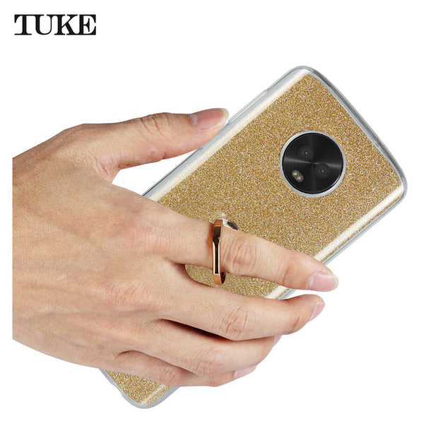 TUKE Glitter Soft Silicone Case For Moto G6 TPU Stand Cover For Motorola Moto G6 XT1925 Funda Finger Ring Holder Celular Coque