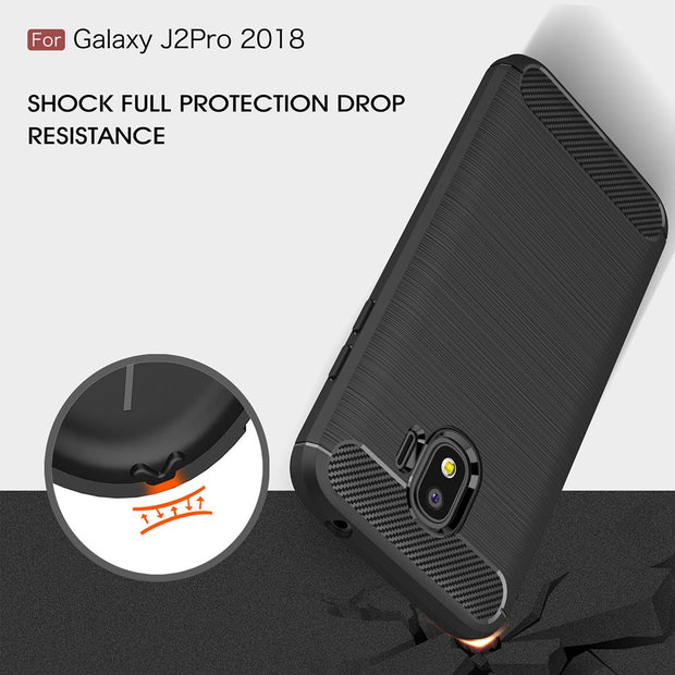 TUKE For Samsung Galaxy J2 Pro 2018 Phone Case Carbon Fiber Soft TPU Silicone Brushed Anti-knock Back Cover For J250F J250