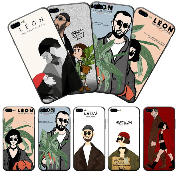 The Professional Leon And Matilda Couple Phone Case Soft Frame Hard Back Phone Cover For IPhone X 8 8Plus 7 7Plus 6 6S Plus