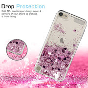 Tobebest SFor Apple IPod Touch 5&6 Silicone Case Dynamic Glitter Liquid Quicksand Lovely Heart Bling TPU Cover For Ipod Touch 6
