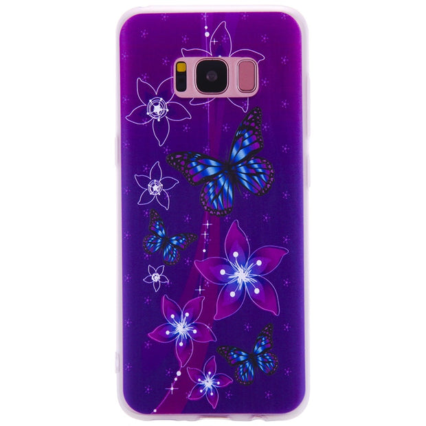 TopArmor Relief TPU Case For Samsung GALAXY S7 S7 Edge--- Butterfly Flowers Pattern