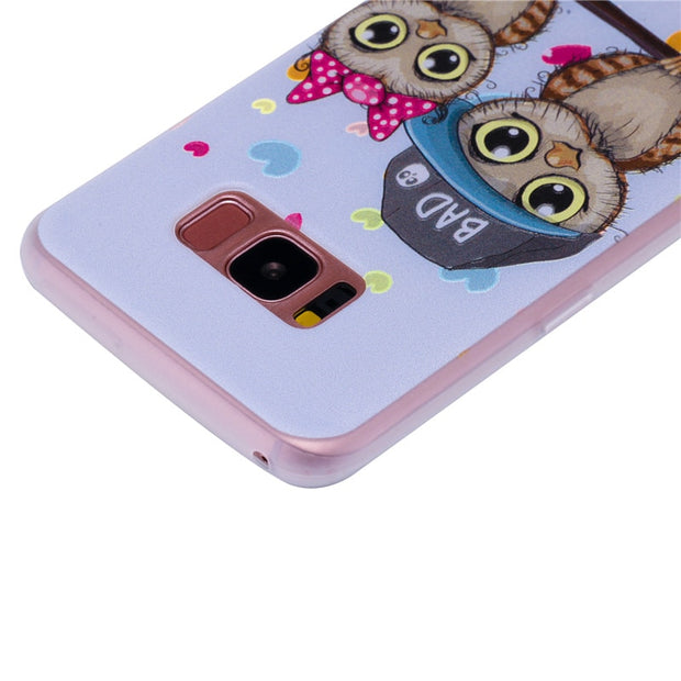 TopArmor Relief TPU Case For Samsung GALAXY S7 S7 Edge--- Couple Owl Pattern