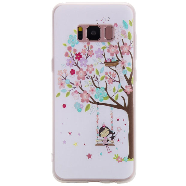 TopArmor Relief TPU Case For Samsung Galaxy S8 S8PLUS--Girl Under The Tree Pattern