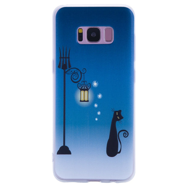 TopArmor Relief TPU Case For Samsung Galaxy S8 S8PLUS---Street Light Cat Pattern