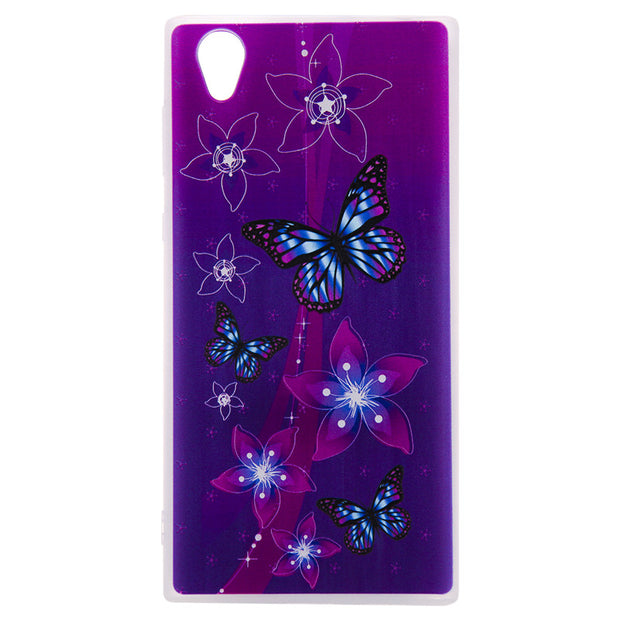 TopArmor Relief TPU Case For Sony Xperia L1 /E6 ---Butterfly Flowers Pattern