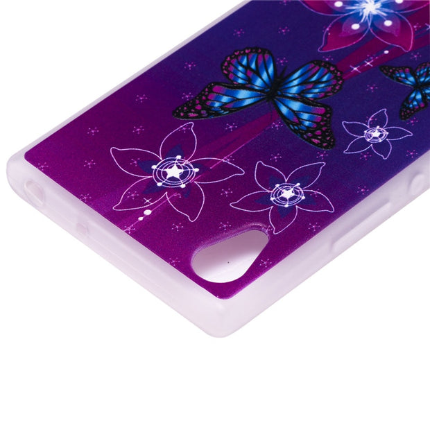 TopArmor Relief TPU Case For Sony Xperia XA1/Z6--Butterfly Flowers Pattern