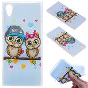 TopArmor Relief TPU Case For Sony Xperia XA1/Z6--Couple Owl Pattern