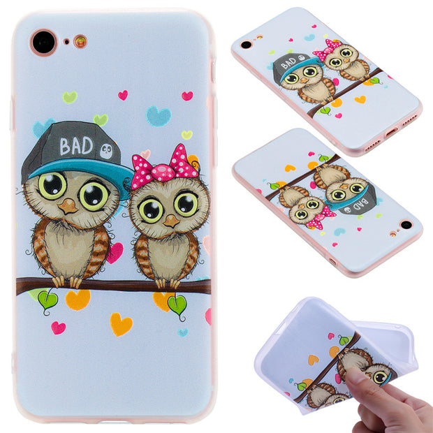 TopArmor Relief TPU Case For Iphone 7 7plus---Couple Owl Pattern