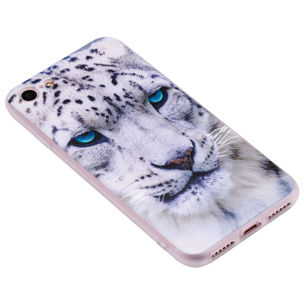 TopArmor Relief TPU Case For Iphone 7 7plus---White Leopard Pattern