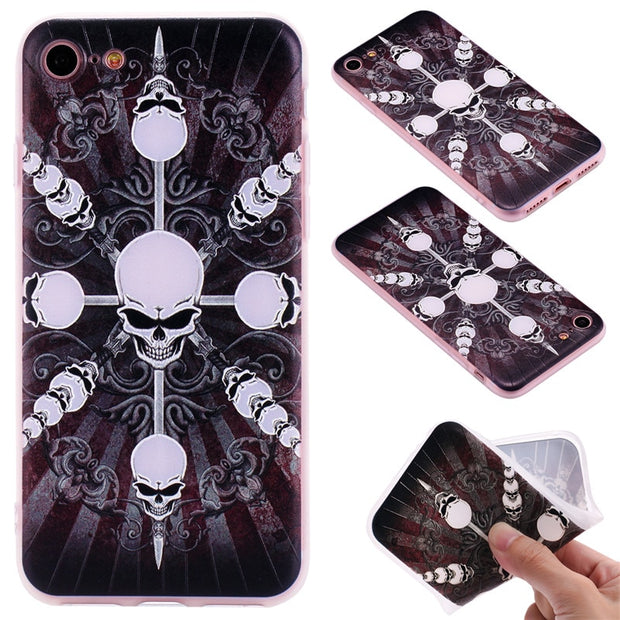 TopArmor Relief TPU Case For Iphone 7 7plus---skull Pattern