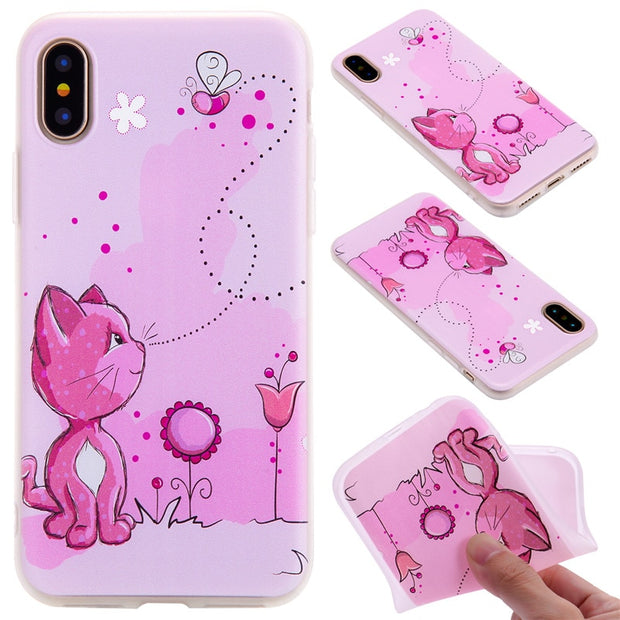 TopArmor Relief TPU Case For Iphone X---Cats And Bees Pattern