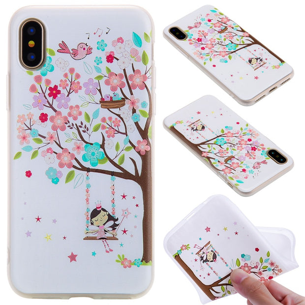 TopArmor Relief TPU Case For Iphone X---Girl Under The Tree Pattern