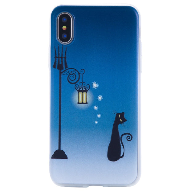 TopArmor Relief TPU Case For Iphone X---Street Light Cat Pattern