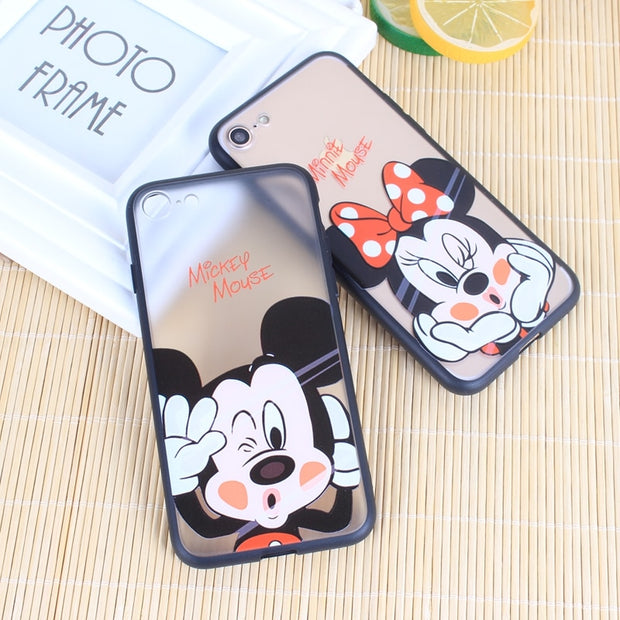 Transparent Minnoe Mouse Mickey Phone Case For Iphone 6s 6 Case Cover Iphone 7 8 Coque Iphone 8 6 S 6 7 Matte Hard PC Fundas