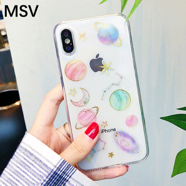Transparent Soft TPU Silicon Back Case For Iphone X XS MAX Cute Glitter Space Planet Phone Cover For Iphone XS XR 7 8 6 6S Plus